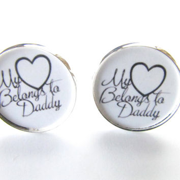 My Heart belongs to Daddy cufflinks-father,Father-of-the-Bridemens-jewelry,wedding cufflinks,father wedding gift