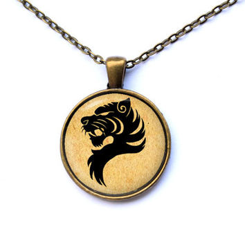Wildlife jewelry tiger head necklace animal pendant