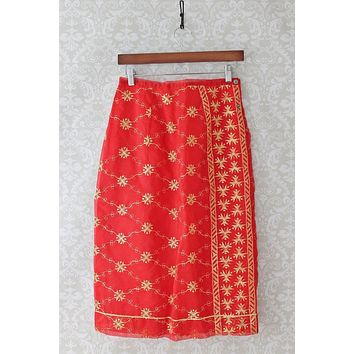 Vintage 1960s Embroidered Pencil Slip + Skirt