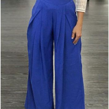 C| Chicloth Women Pants Solid Color High Waist Wide Loose Legs