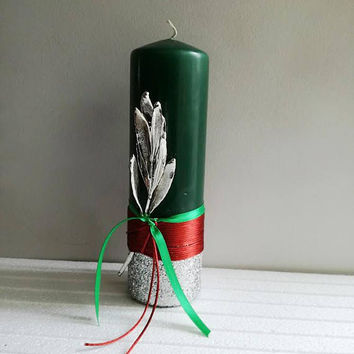 Christmas pillar candle, dark green Xmas candle with real olive twig, electroplated olive twig on pillar candle with ribbons and glitter