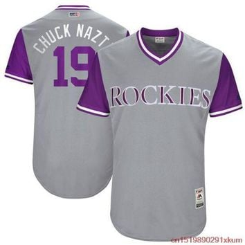 PEAPFS2 MLB Men's Colorado Rockies Charlie Blackmon 'Chuck Nazty' Baseball Gray 2017 Players Weekend Authentic Jersey