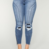 Get On With It Moto Jeans - Dark Denim