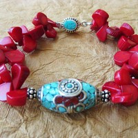 Coral and Turquoise Bracelet | DoubleSJewelry - Jewelry on ArtFire