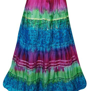 Mogul Interior Womens Peasant Skirt Tie Dye Boho Style Hippy Gypsy Long Skirts S/M: Amazon.ca: Clothing & Accessories