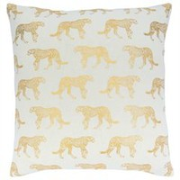 "Gold Foil Cheetah Pillow Cover – 18"" x 18"" 