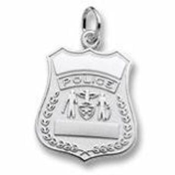 Police Badge Charm In Sterling Silver