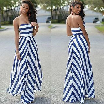 Women Sexy dress Summer strapless striped Boho Maxi Long Evening Party Beach Dress Chiffon Sundress New