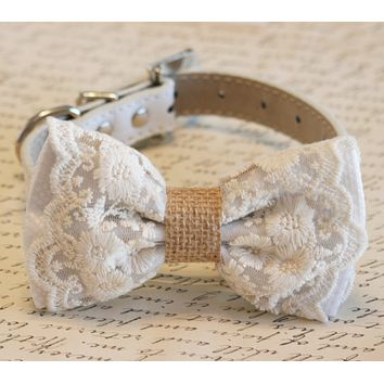 White Lace and Burlap Dog Bow Tie collar, Rustic, Country wedding, boho wedding