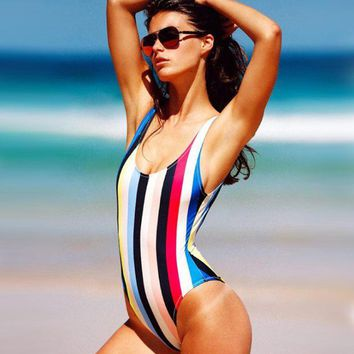 Sexy Hot One Piece Rainbow Stripe Swimwear Bath Suit