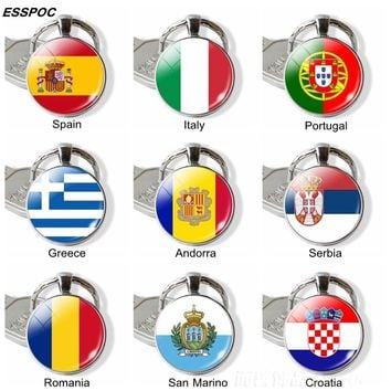 Southern European Countries Flag Keychain Spain Italy Portugal Greece Romania Croatia Andorra Flag Keychain Foreign Friends Gift