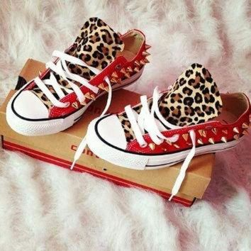 VONR3I Leopard Print Spike Studded Converse