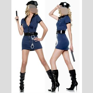 Black Blue Halloween Sexy Police Costume Kit Cop Officer Cosplay Uniform Dress For Adult Women Plus Size XXL