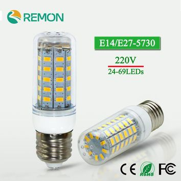 1Pcs LED lamp E14 E27 AC220V SMD 5730 Corn Bulb AC220V 24 36 48 56 69leds Chandelier LEDs Candle light Spotlight For Home