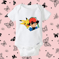 Ash and Pikachu Pokemon Onesuit baby, pokemon cool Onesuit baby shirt, Onesuit baby gift, Clothing baby, baby shirt Onesuit