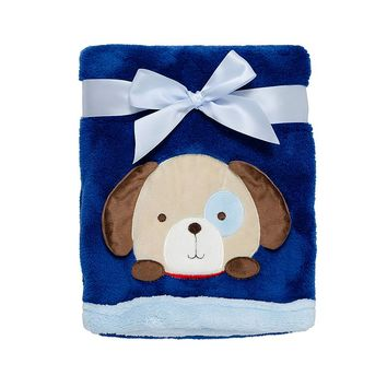 Baby Gear Animal Velboa Plush Blanket (Blue)