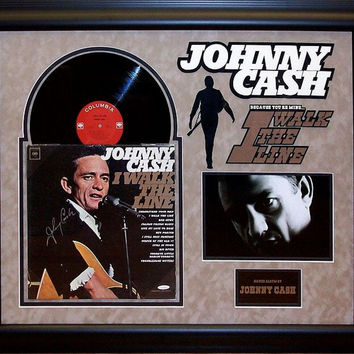 Johnny Cash - Walk The Line - Signed Album Custom Framed -