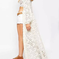 White Long Sleeve Lace Open Front Long Kimono