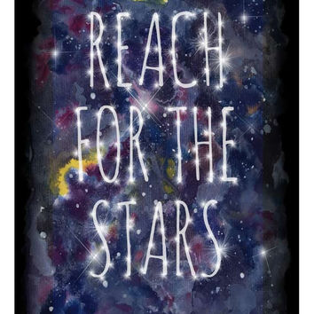 Cosmic Galaxy 'Reach For The Stars' Inspirational Quote Watercolour Art Poster Print