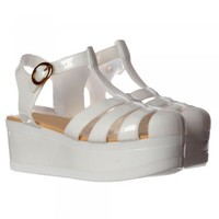 Onlineshoe Retro Jelly Gladiator Sandals - Chunky Platform Wedge - Black, White, Clear Glitter - Onlineshoe from Onlineshoe UK