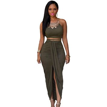 Olive Faux Suede Two Piece Maxi Skirt Set