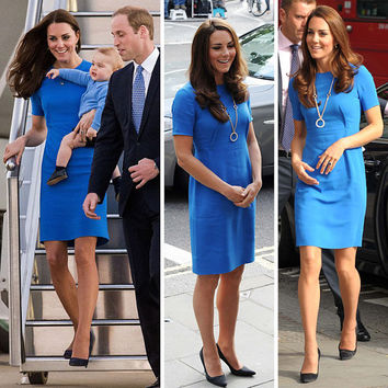 ROYAL TOUR 2014: Bright blue sheath dress inspired by Duchess Kate Middleton