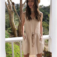 BRYSON DRESS- TAUPE