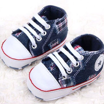 Choice of Denim and Soft Canvas Star Baby Shoes