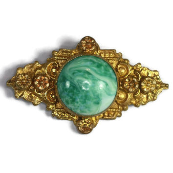 Faux Jade Peking Glass Czech Brooch Pin Floral Gold Tone Vintage