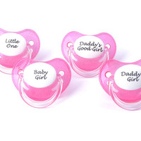 Ddlg paci Adult baby pacifier.  Pink and white personalised glitter dummy with baby girl, daddy's girl, little one binky nuk 3