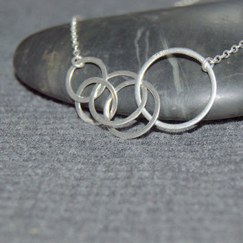 multi circle necklace sterling silver, linked circle necklace, modern multi ring necklace, interlocking necklace, open circle necklace