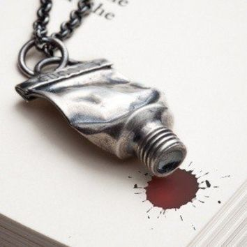 Silver paint tube necklace - Famous - RedSofa jewelry