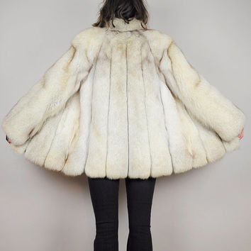 vtg 70's Arctic FOX FUR fluffy COAT shaggy 80's Plush ecru white chubby striped Pelt minimalist Glam Small