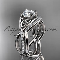 "platinum celtic trinity knot engagement set, wedding ring with a ""Forever Brilliant"" Moissanite center stone CT790S"
