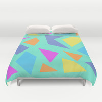 Mint Shapes Duvet Cover by Minorthread