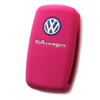 VW Volkswagen Pink Remote Key Silicone Protecting Key Case Cover Fob Holder 3 Buttons