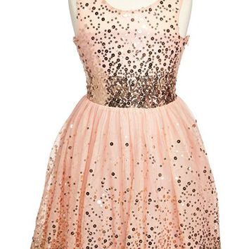 Girl's Fiveloaves Twofish 'Just Peachy' Fit & Flare Dress,