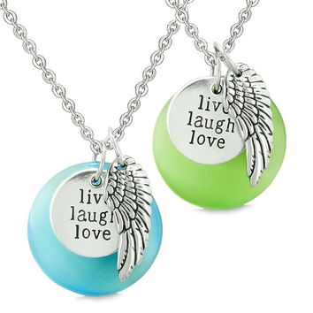 Guardian Angel Wing Live Laugh Love Amulets Couples Green Blue Simulated Cats Eye Necklaces