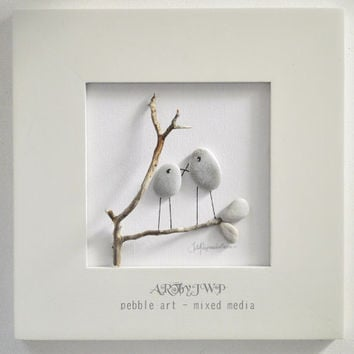 Unique Pebble Art • Love Birds In A White Wooden Frame (Without Glass)