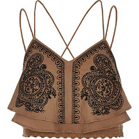 Brown embellished cropped cami - crop tops / bralets - tops - women