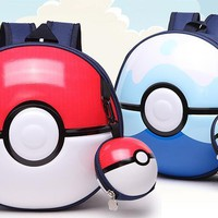 Kids Pikachu With Little Ball Round Bag Cosplay Backpack School Bag Gift Xmas Mochila Boys Girls