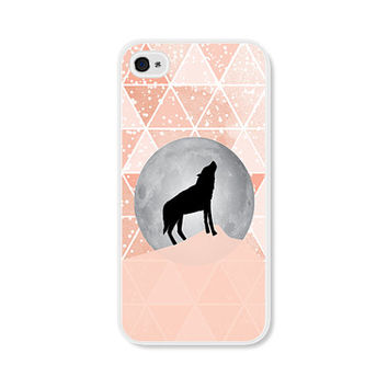 Geometric Phone Case - Peach Moon Wolf Geometric iPhone 4 / 4s - 5 / 5s - 5c Case - Coral iPhone 5c Case - iPhone 5 Case - iPhone 4s Case