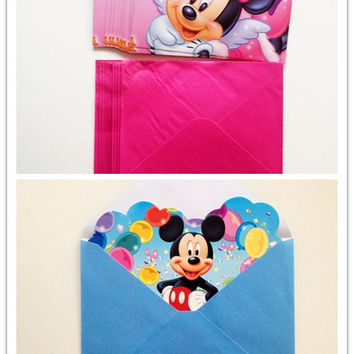 mickey mouse birthday party supplies 12pcs Invitation Card Minnie Mickey Mouse Baby Shower Birthday Party Supplies Decoration