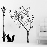 Tree Wall Decals Street Lamp Cat Kitten Decal Vinyl Sticker Baby Children Nursery Bedroom Room Home Decor Art Murals C504