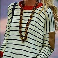 Women's Round Neck Bat Sleeve Matching Color Stripes Pullover Sweater