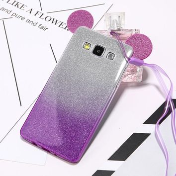 Cute Mouse Ears 2 in 1 Clear Soft TPU Glitter Powder Gradient Color Case For Samsung S7 S6 edge S5 A5 J5 Back Cover With Lanyard