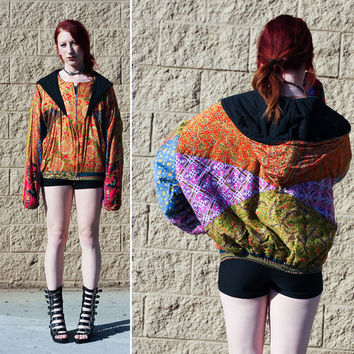 Colorful patterned puffy coat