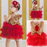 Pageant-Flower-Girl-Sequins-Cake-Dress-Bow-Tulle-Baby-Party-Dress-Sundress-2-7Y
