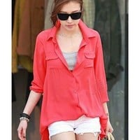 Lapel Red long sleeve lapel chiffon shirt  Other type  Solid Pop  style cy91502101 in  Indressme
