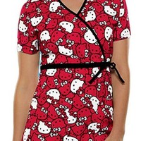 Buy Tooniforms Women Hello Kitty Faces Mock Wrap Top for $22.45
